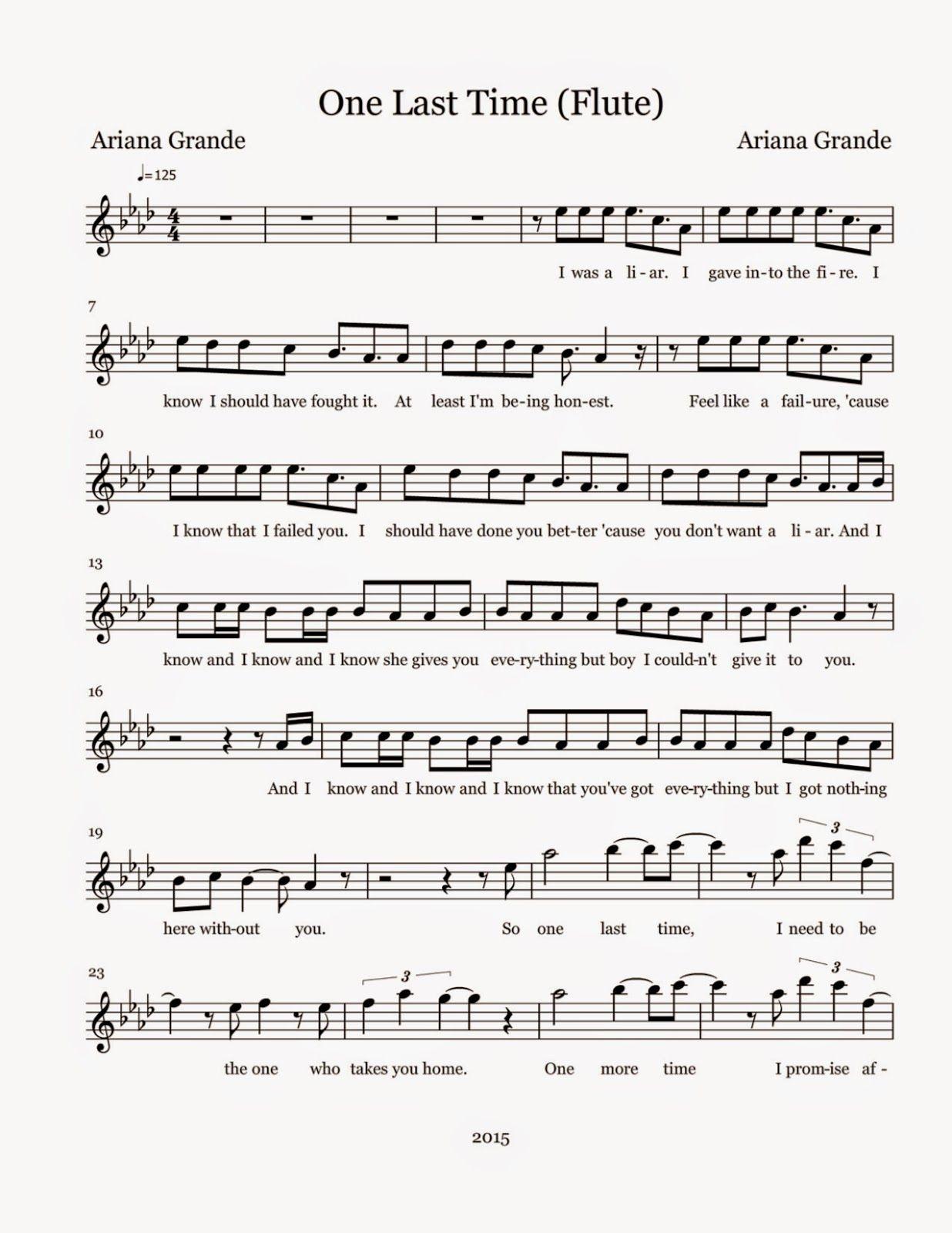 Flute Sheet Music: One Last Time - Sheet Music | music/band