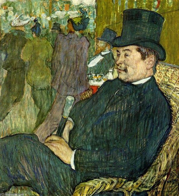 """""""ジャルダン·ド·パリでのM.ドラポルト"""", オイル バイ Henri De Toulouse-Lautrec (1864-1901, France)"""