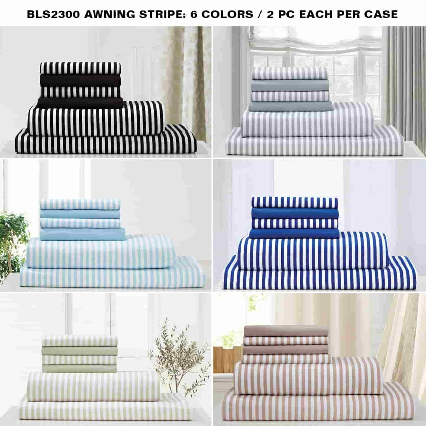 Queen Size Assorted Virah Bella® 2300 Series Awning Stripe Hotel Quality  Bed Sheet Set