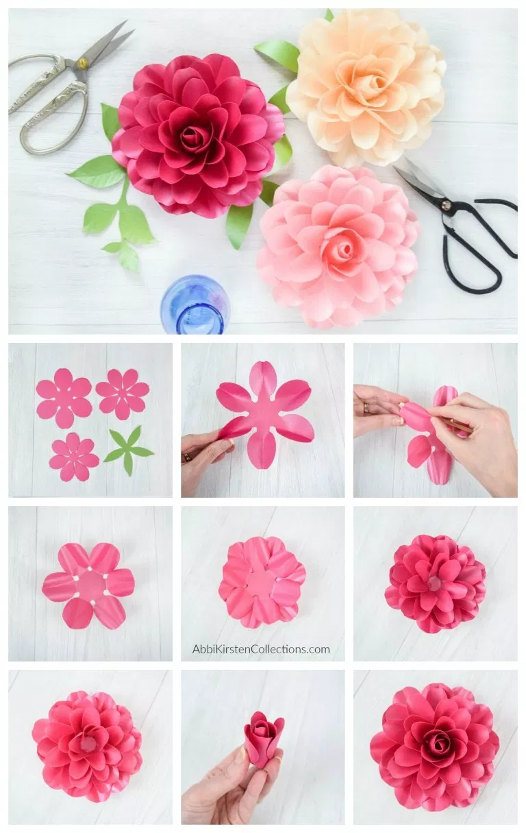 How To Make Small Paper Roses Camellia Rose Template Tutorial Paper Flower Patterns Paper Roses Paper Rose Template
