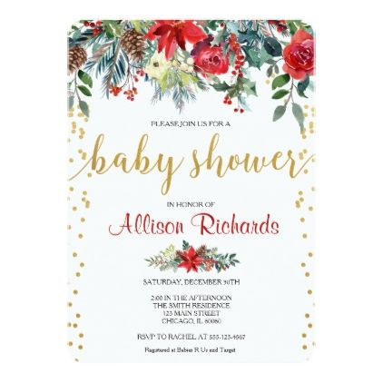 Holiday Baby Shower Invitation Floral Watercolors  Shower