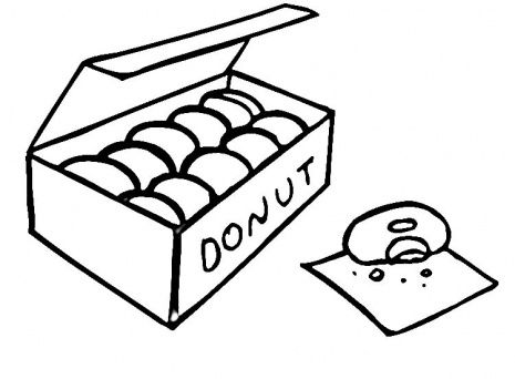 Junk Food Coloring Pages | Donuts coloring page | Craft Ideas ...