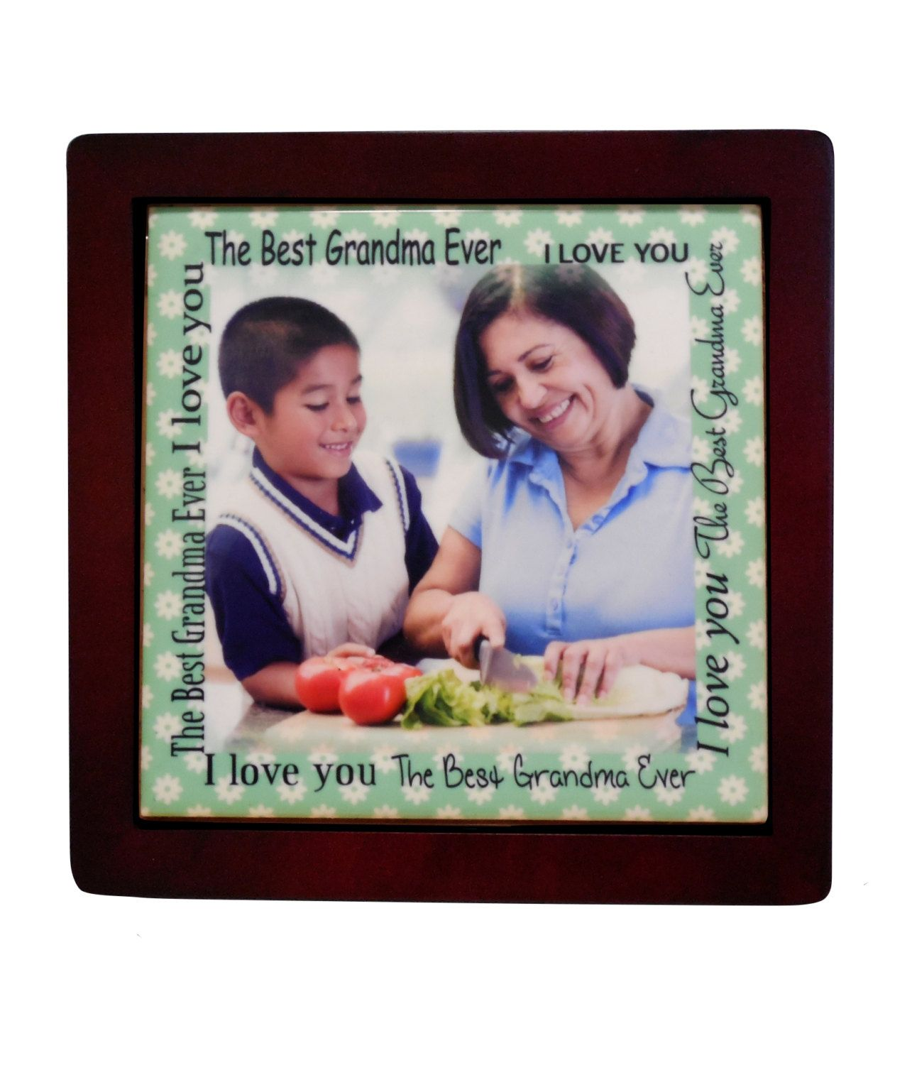 Personalized grandma photo tilepicture frames displays personalized grandma photo tilepicture frames displays sublimated ceramic tile grandma birthday gifts dailygadgetfo Gallery