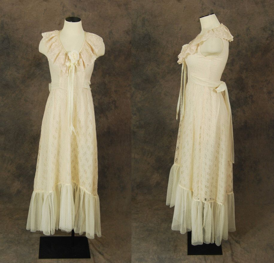 Vintage s wedding dress ivory lace maxi dress s boho wedding