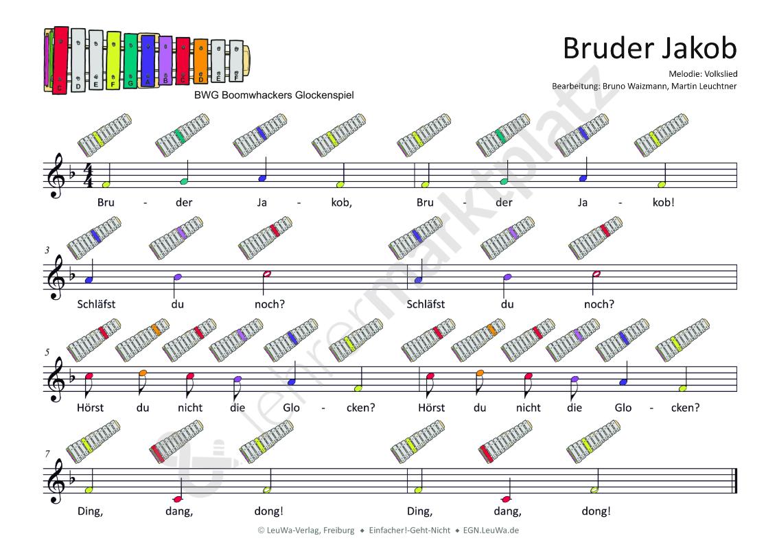 Glockenspiel: Bruder Jakob (mit Bildern) | Musik lernen