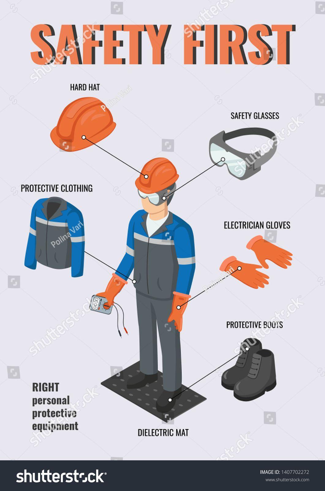 Work safety. Isometric electrical engineer wearing helmet