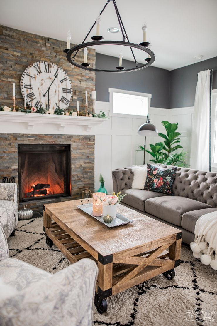 A Cozy, Rustic Glam Living Room Makeover for Fall Glam