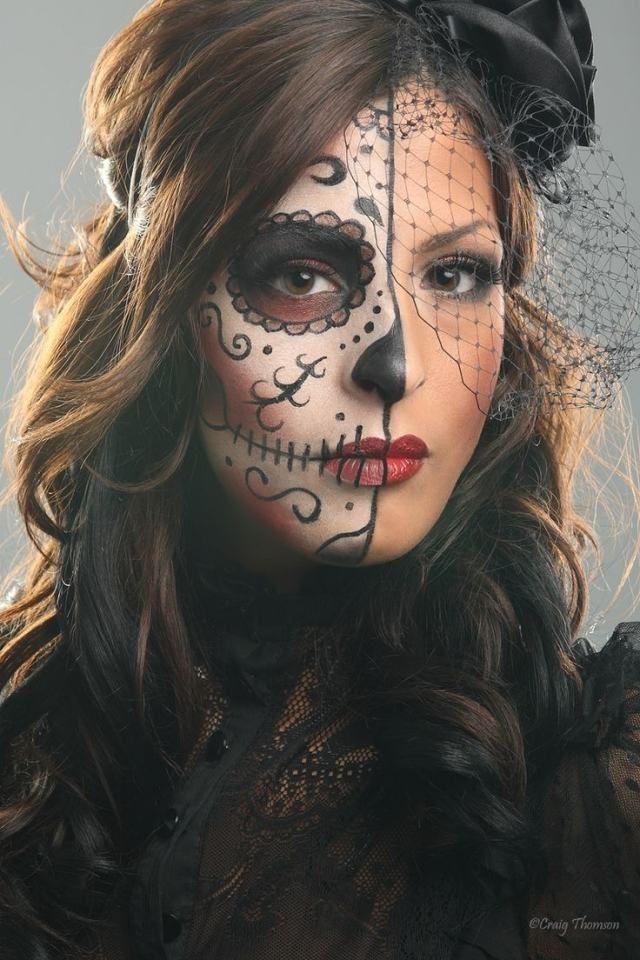 Ideen Sugar Skull Schminke Frau Halfte Des Gesichts Halloween