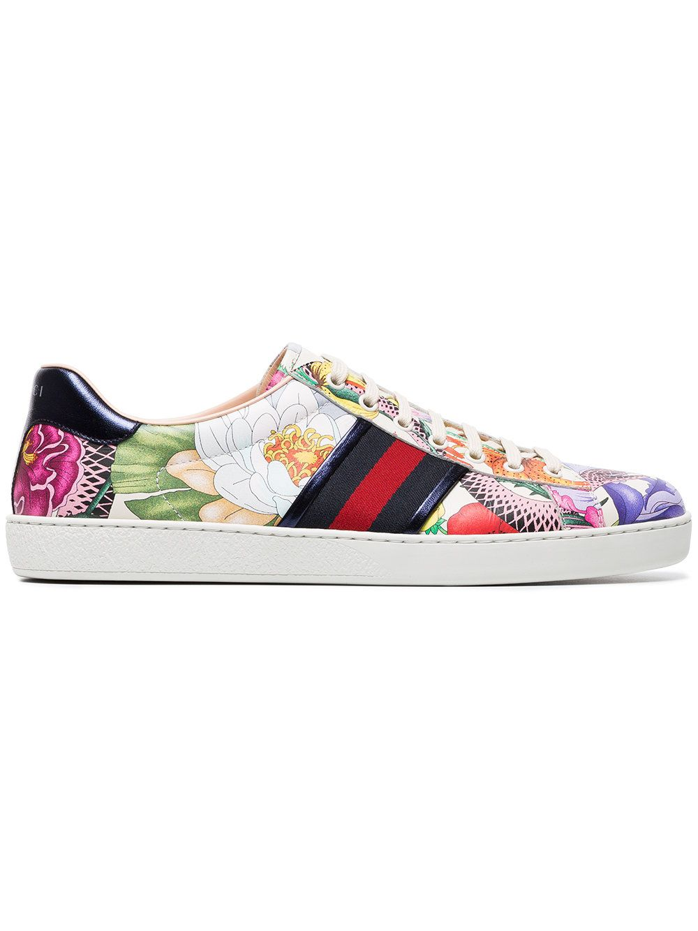 Multi Multi Floral Sneakers Ace White Leather Print Coloured AAafq8