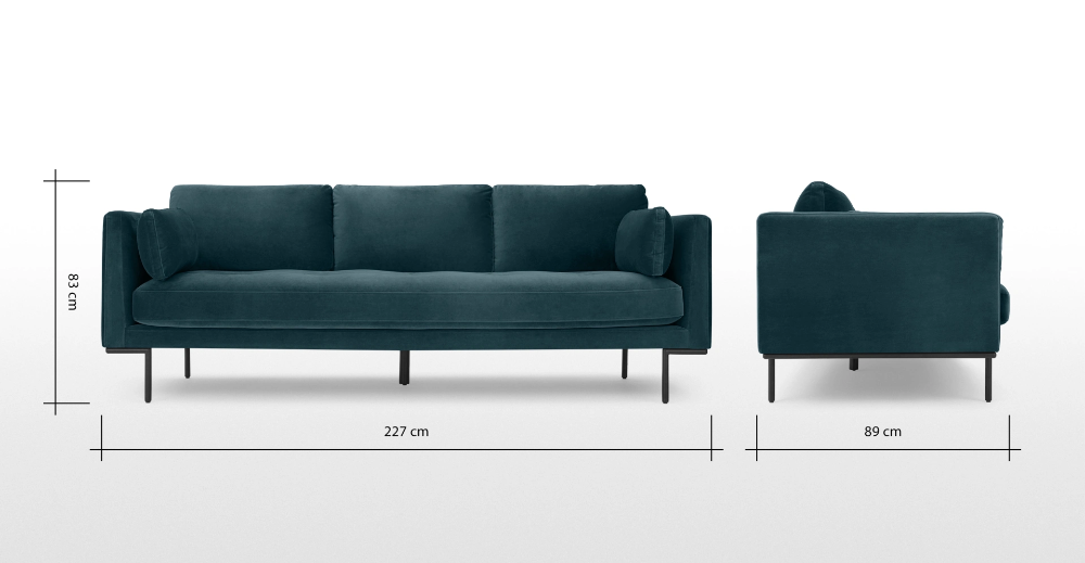 Harlow 3 Sitzer Sofa Samt In Stahlblau Made Com In 2020 Seater Sofa 3 Seater Sofa Blue Velvet