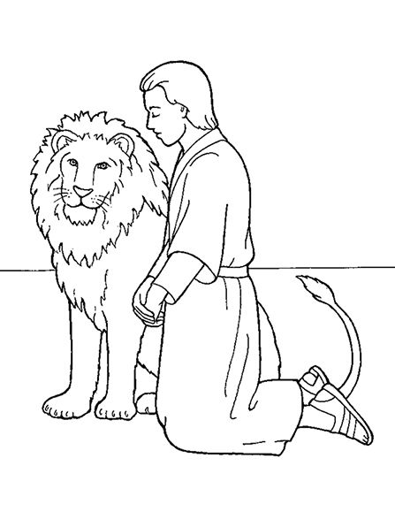 An illustration of Daniel kneeling in prayer beside a lion, from the ...