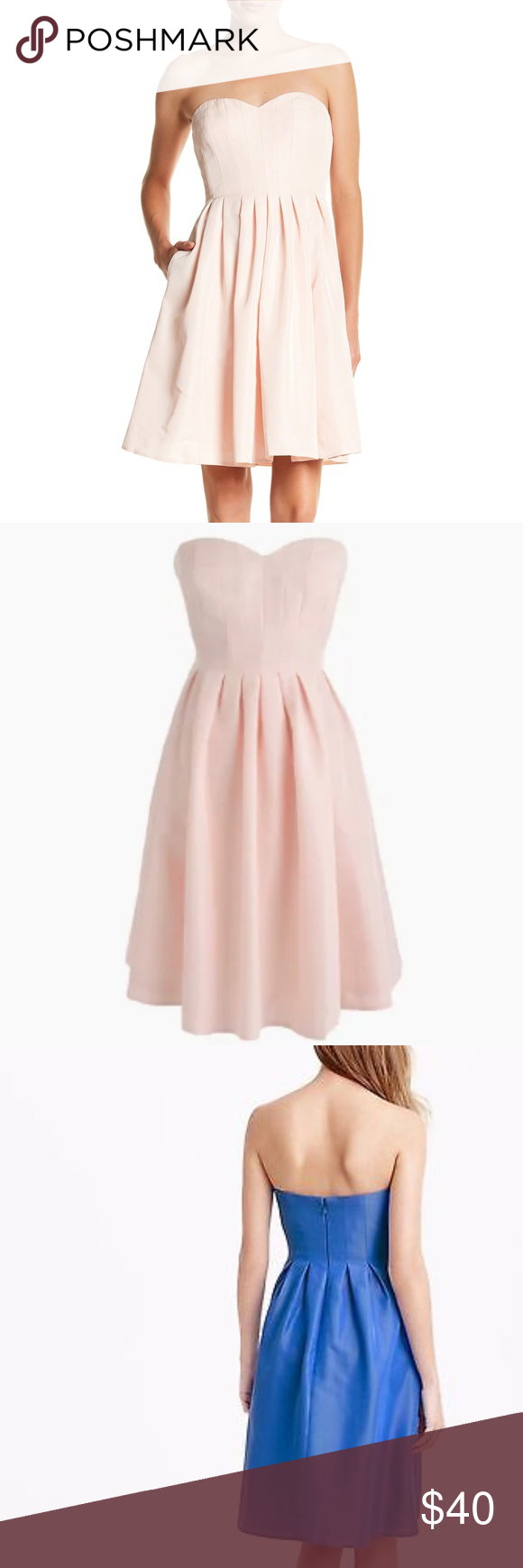 Pink cocktail dress for wedding  J Crew Wedding Marlie Strapless Bridesmaid Dress  Dress brands