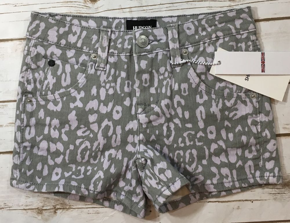 NWT Hudson Gray Lavender Leopard Cheetah Print Denim Shorts Childrens Girls 10    eBay