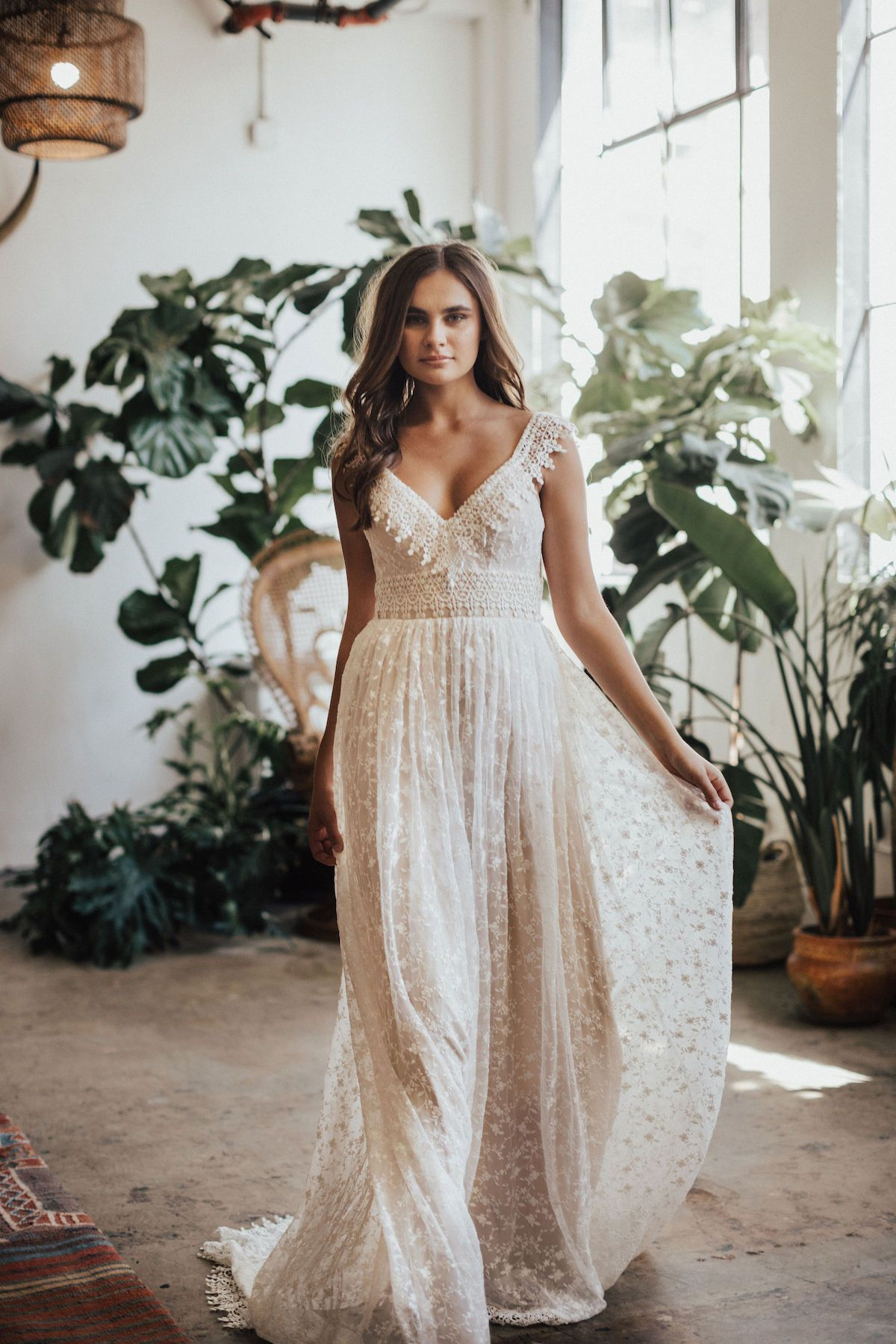 Lupita Bohemian Lace Wedding Dress Classic Wedding Dress Bohemian Wedding Dress Lace Wedding Dress Flowy