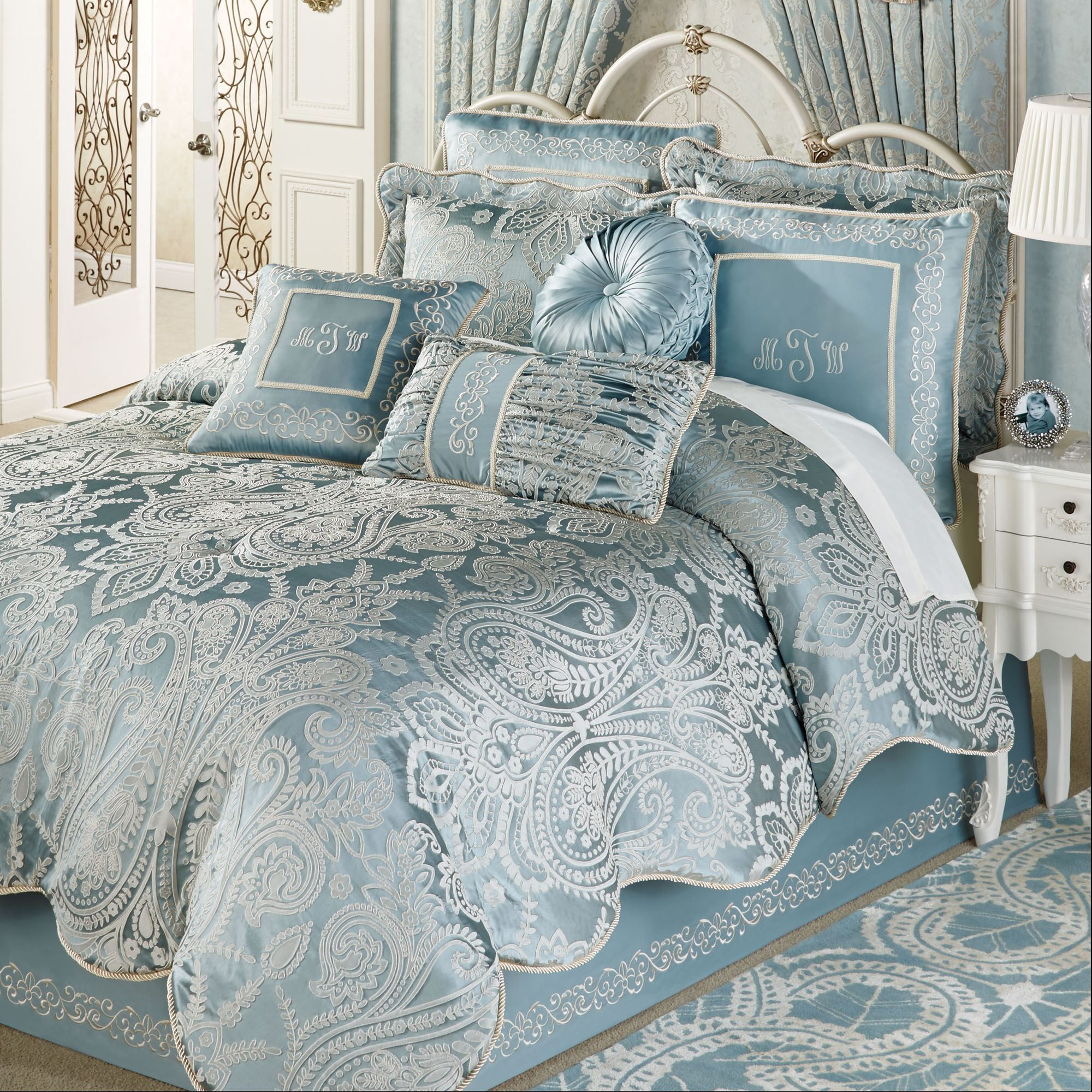 turquoise microsuede home piece set in pin highland bag chic plush gray blue comforter a striped and bed valley blues queen