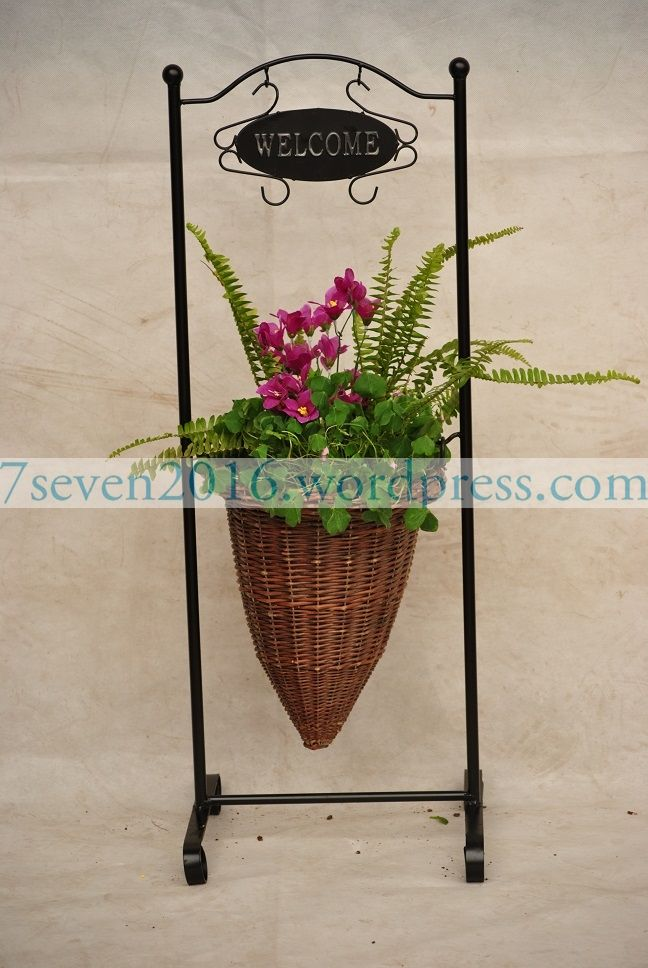 7-Seven metal willow hanging basket for planting.
