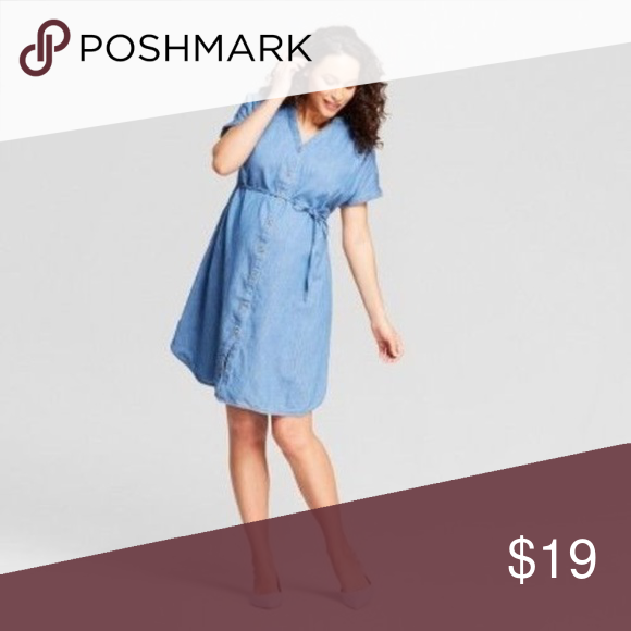 10d1b295f42 Maternity Denim Dolman Shirt Dress S M L XXL Button-down shirtdress  Adjustable tie waist Select your pre-pregnancy size Fits throughout and  after pregnancy ...