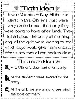 Main Idea And Details Valentine S Themed Common Core Main Idea And Detail Reading Comprehension Lessons Descriptive Writing Main idea worksheets grade 5