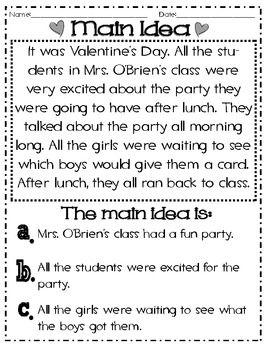 Main Idea And Details Valentine 39 S Themed Common Core Reading Comprehension Lessons Descriptive Writing Main Idea