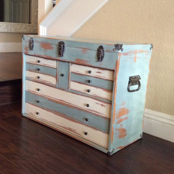 Superior LARGE TOOL BOX Beach Cottage Decor Wood Craft By Shabbyshores