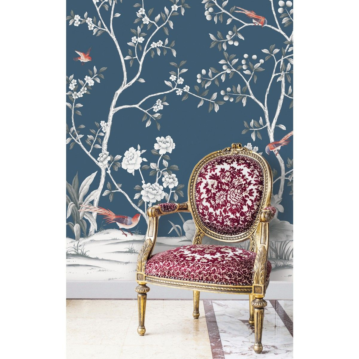 CHINOISERIE Lilly Navy Tempaper Designs Chinoiserie