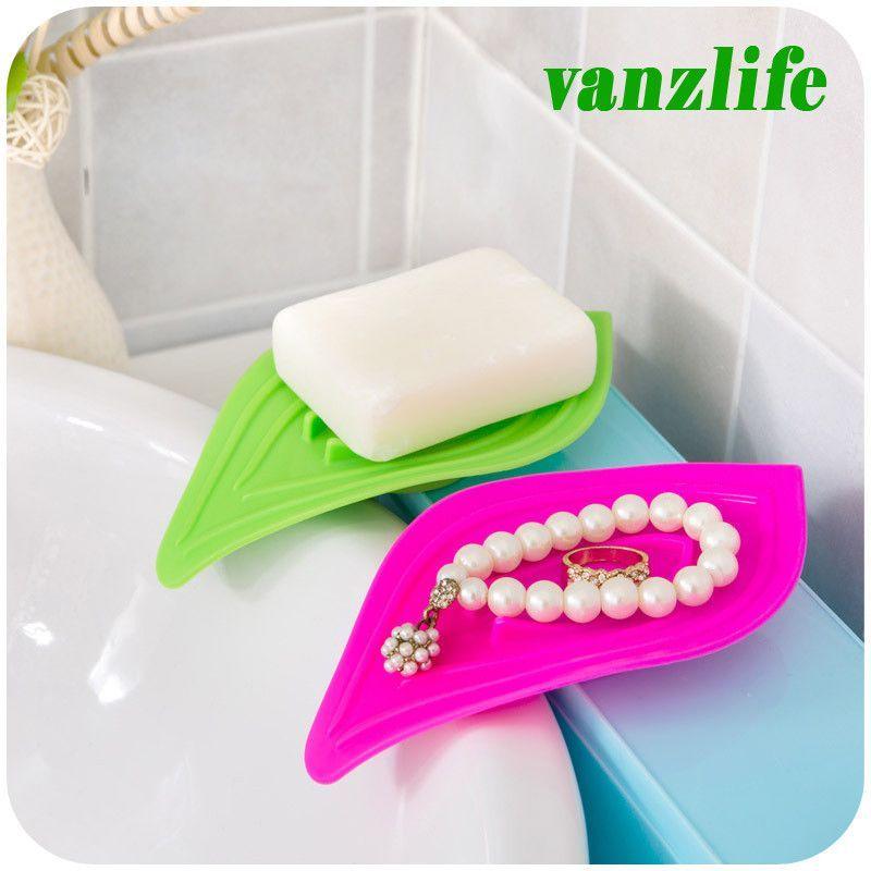 Vanzlife Multifunctional Slip Ring Leaves Soap Box Drain