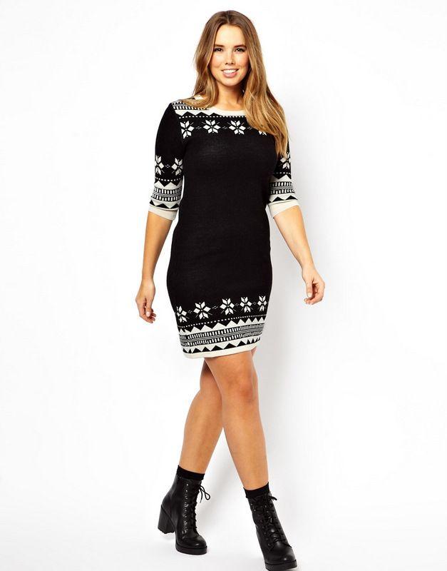 The Curvy Fashionista | knitted-swing-dress-in-fairisle-print-Plus ...