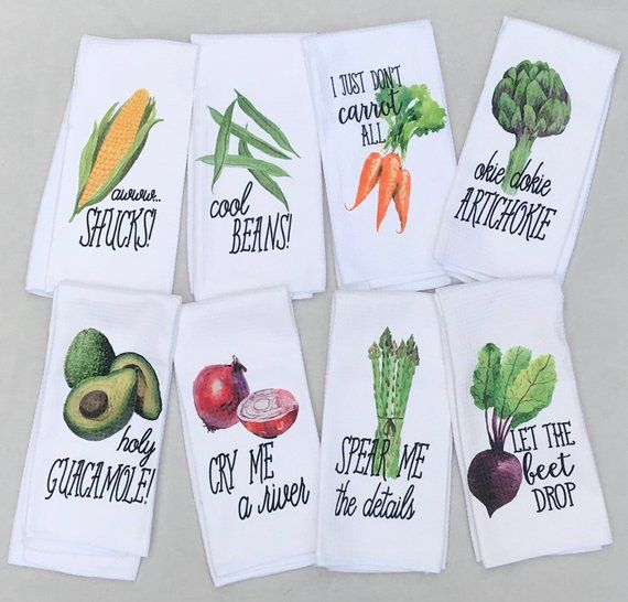 Funny Kitchen Towels - Vegetable Decor - Hostess Gift - Dish Towels - Housewarming Gift - Gift For H #dishtowels