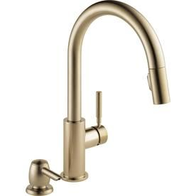 Delta Trask Champagne Bronze 1-Handle Deck Mount Pull-down ...