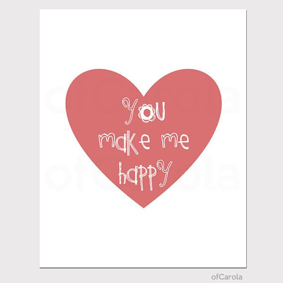 Heart You Make Me Happy Quote Wall Art Print  Love by ofCarola, $15.00