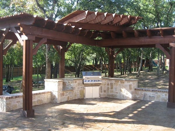 Pergola With Built In Seating And Bbq Perfect For The