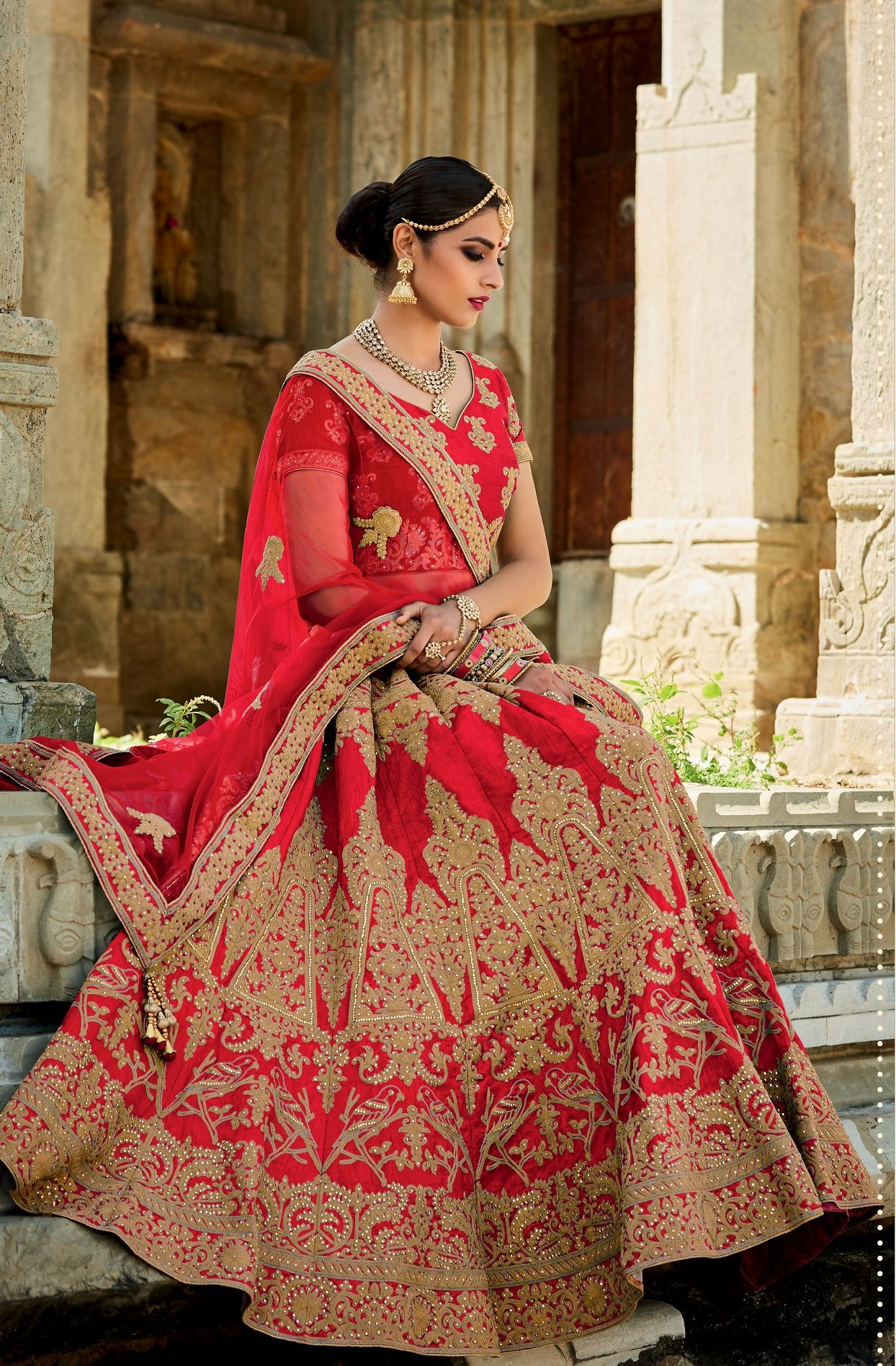 e50ccb4a1dc5 Buy Red color silk bridal lehenga choli in UK, USA and Canada ...