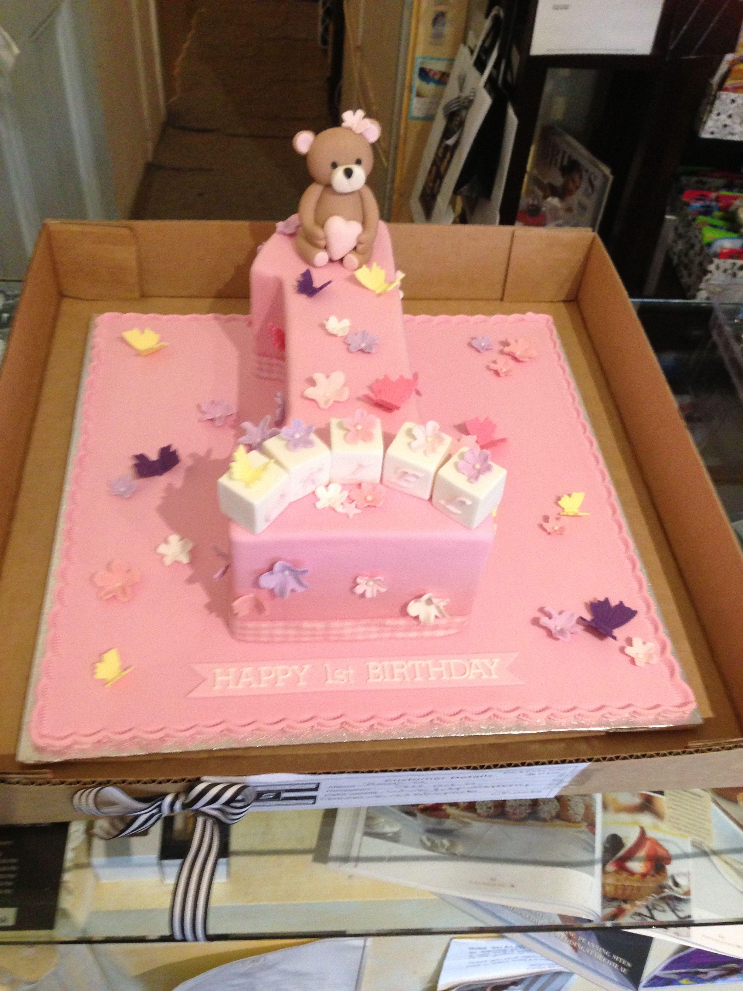 Baby Girls First Birthday Cake Number One Design Girls First