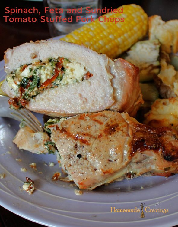 Spinach, Feta and Sun-Dried Tomato Stuffed Pork Chops https://web.archive.org/web/20130916080753/http://homemadecravings.com:80/spinach-feta-and-sundried-tomato-stuffed-pork-chops/