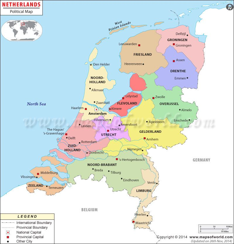 Political Map Of Netherlands Mapas Pinterest - World map and their capitals