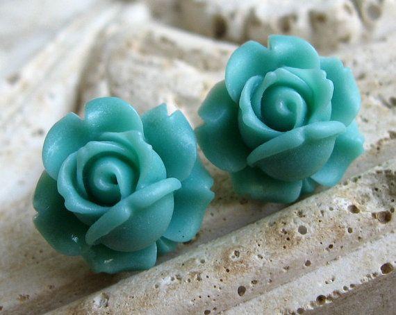 turquoise rose earrings <3