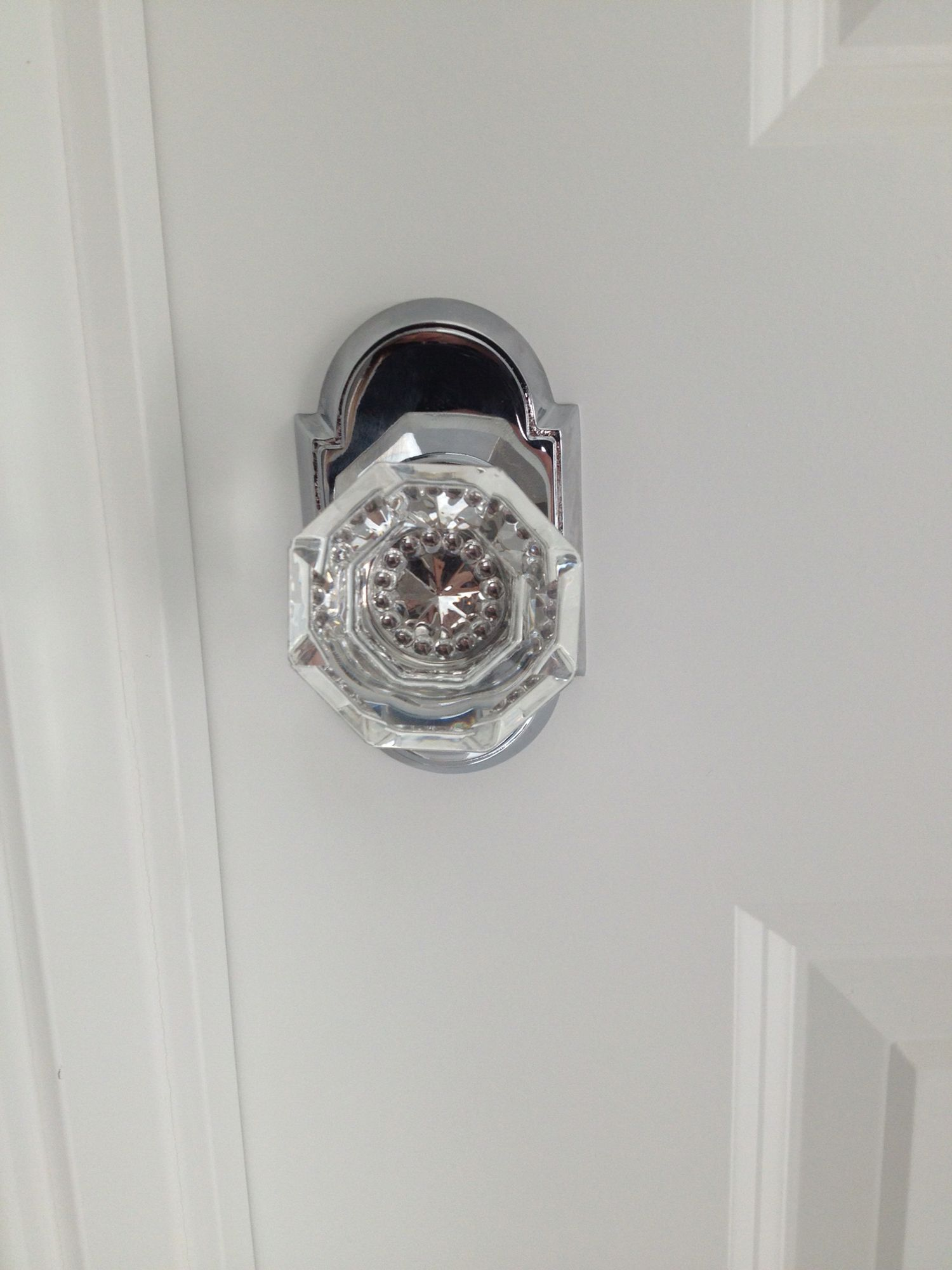 i chose a emtek glass doorknob with chrome backplate for our new