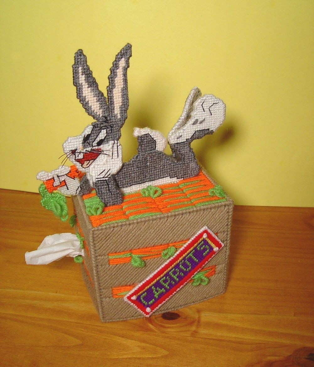Bugs Bunny Rabbit Plastic Canvas Boutique Tissue Box Cover ...