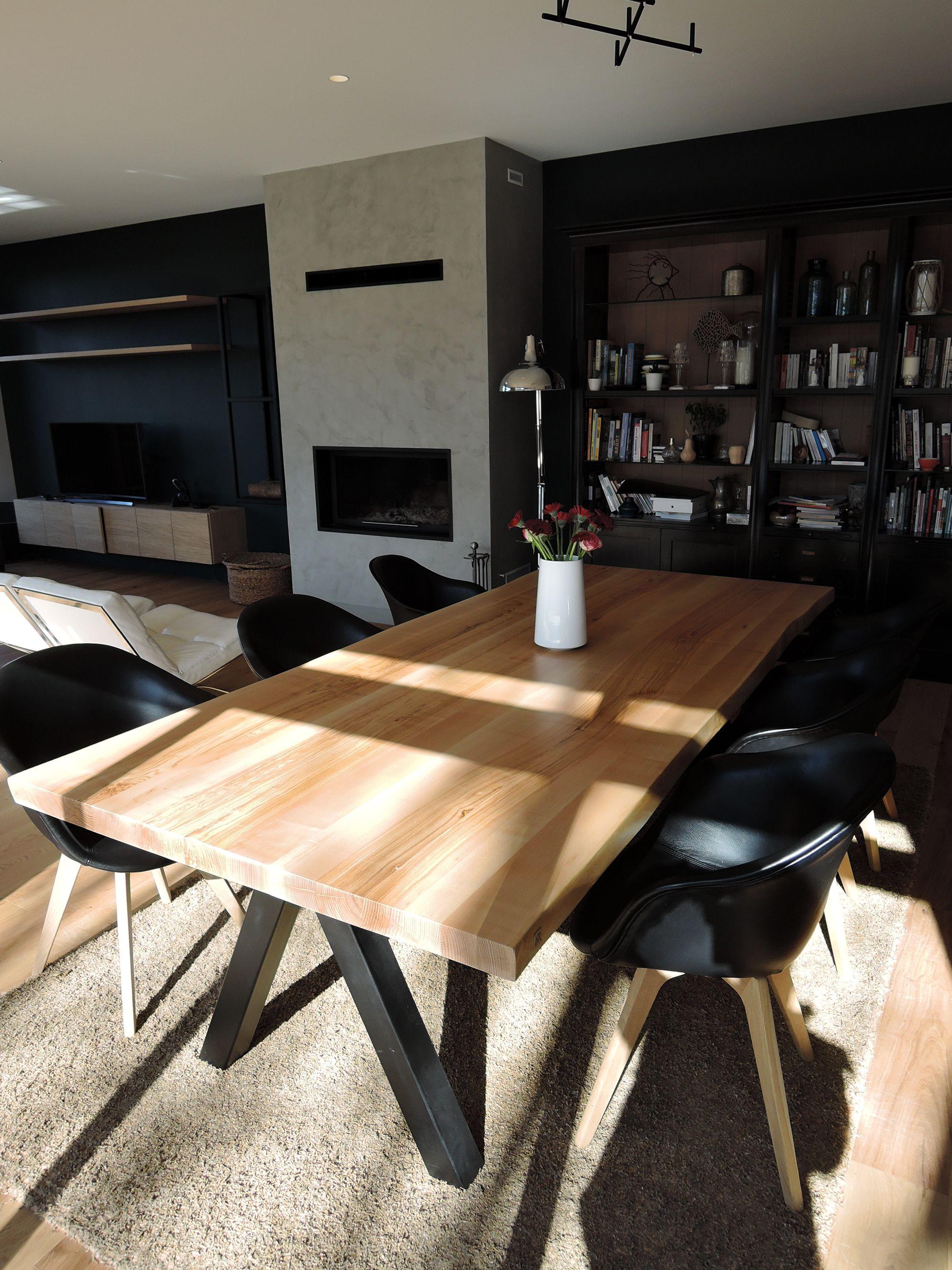 "Artmeta artmeta / table modèle""aubier"" 260 x 120 cm frene olivier + noir"