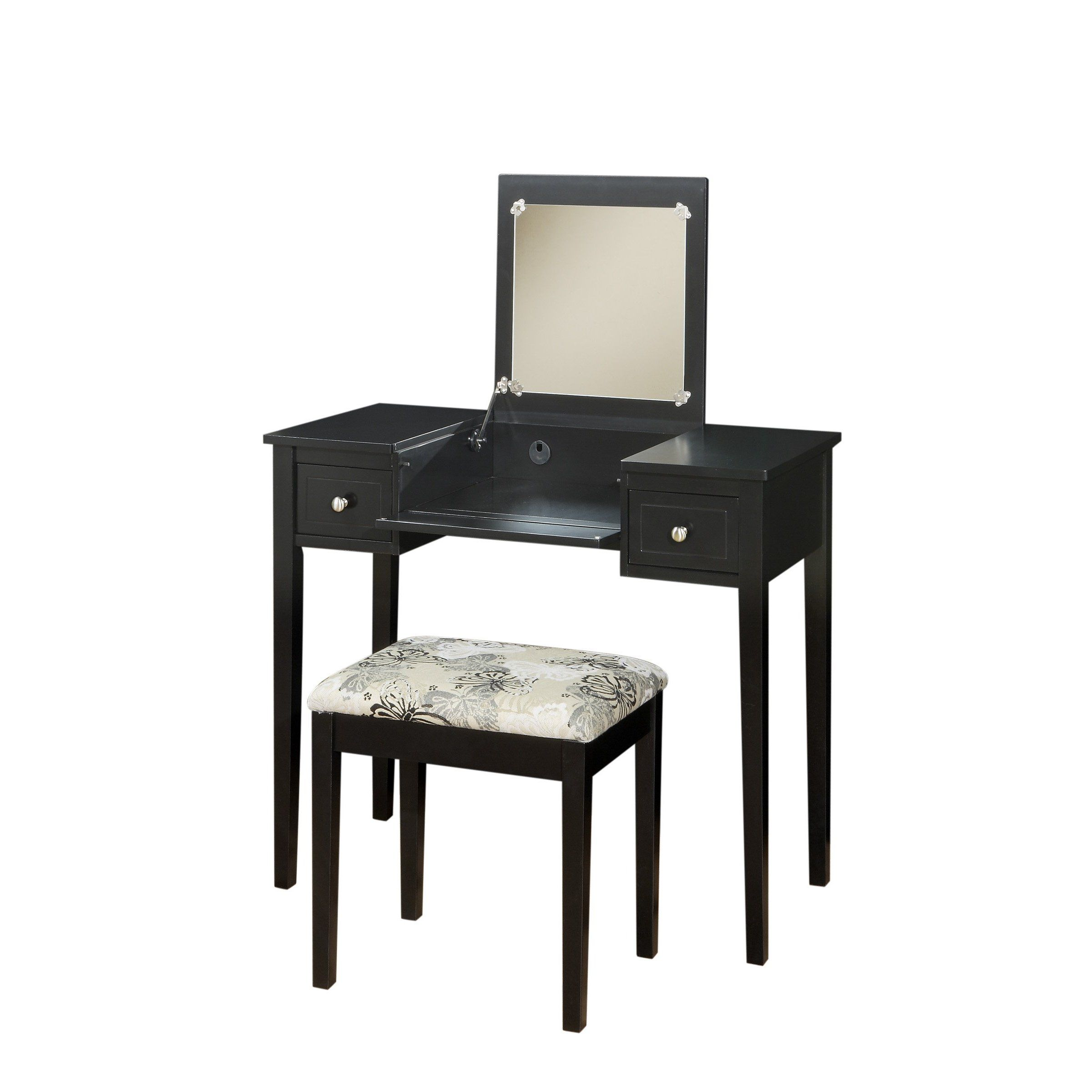 FurnitureMaxx Wood Black Vanity Set (Vanity Table with Bench) : Bedroom Vanities