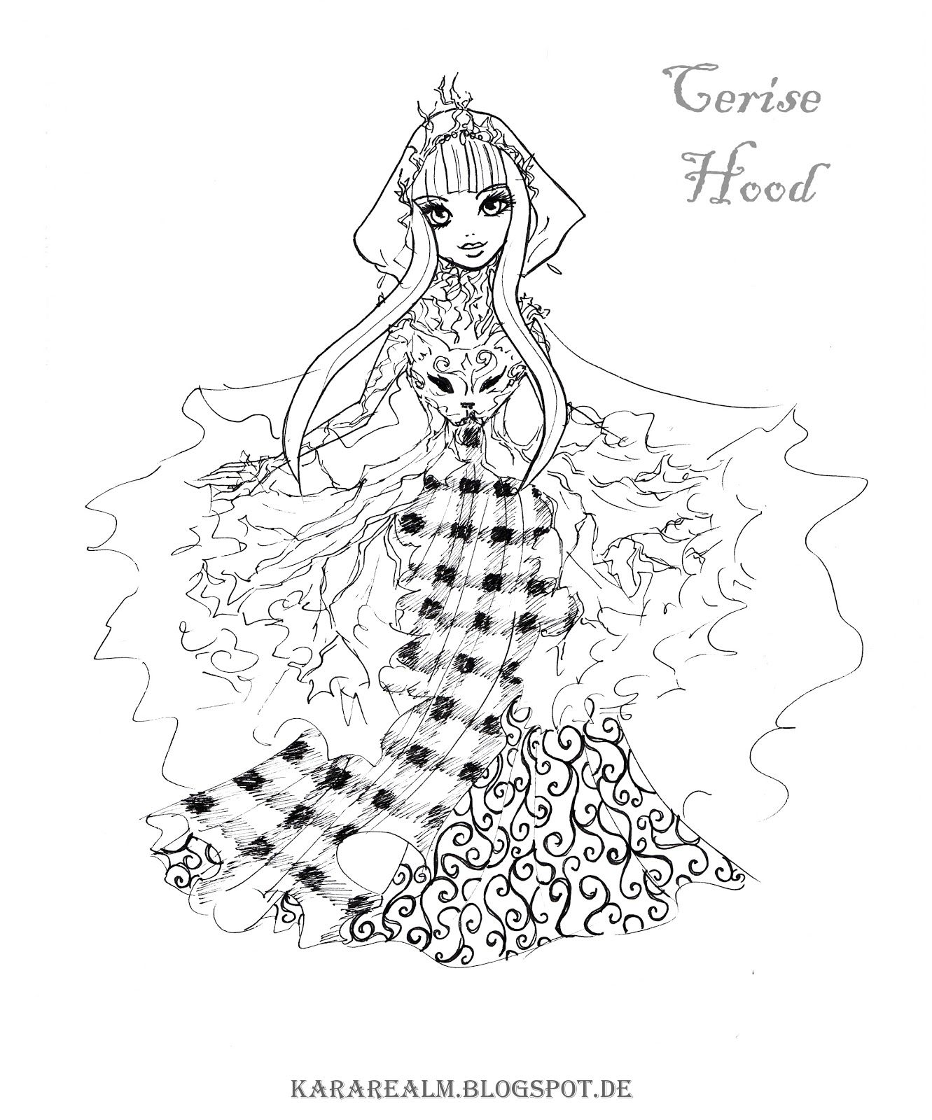 Kara realm ever after high coloring pages cerise hood - Cerise dessin ...