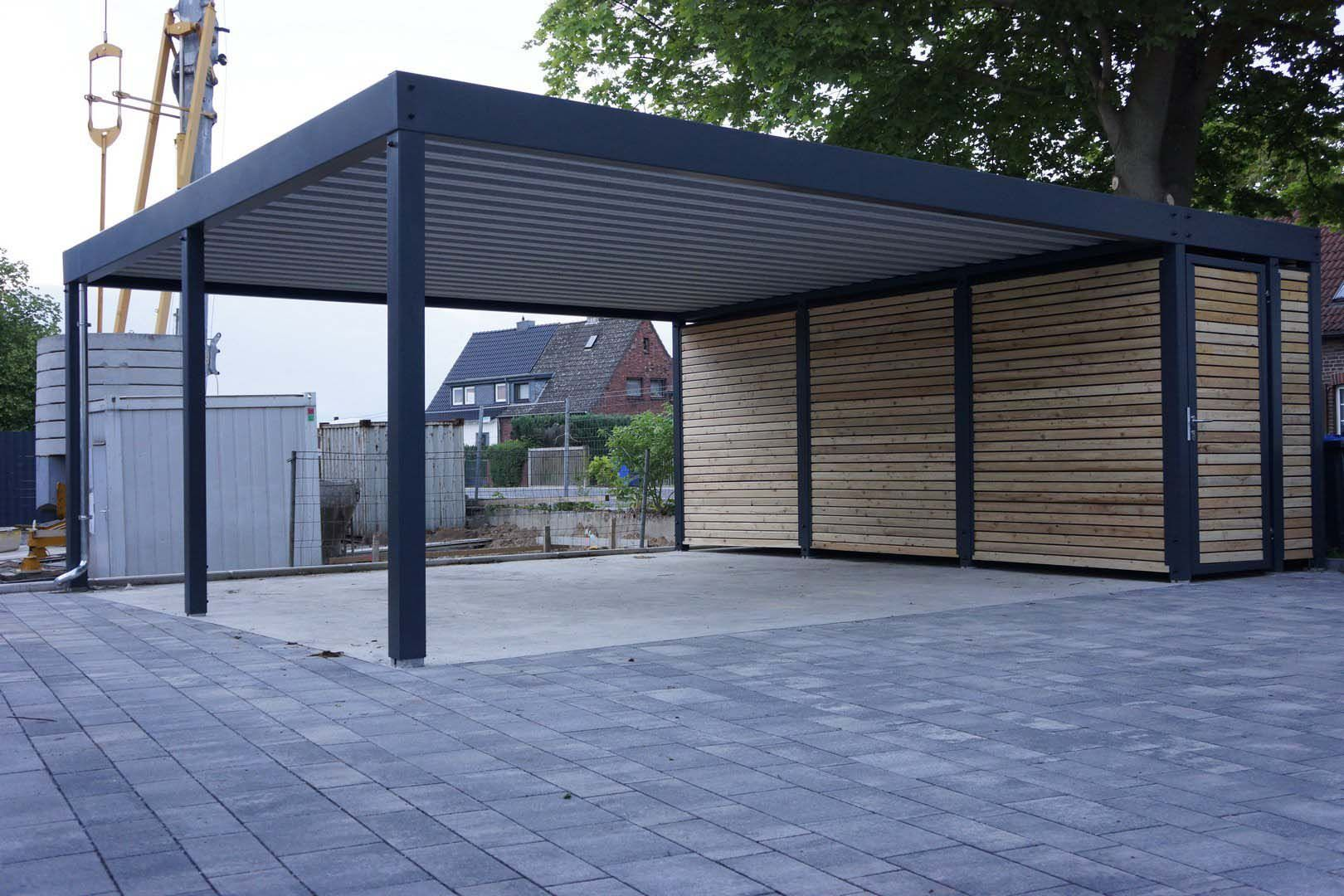 Design metall carport aus holz stahl mit abstellraum for Carport blueprints