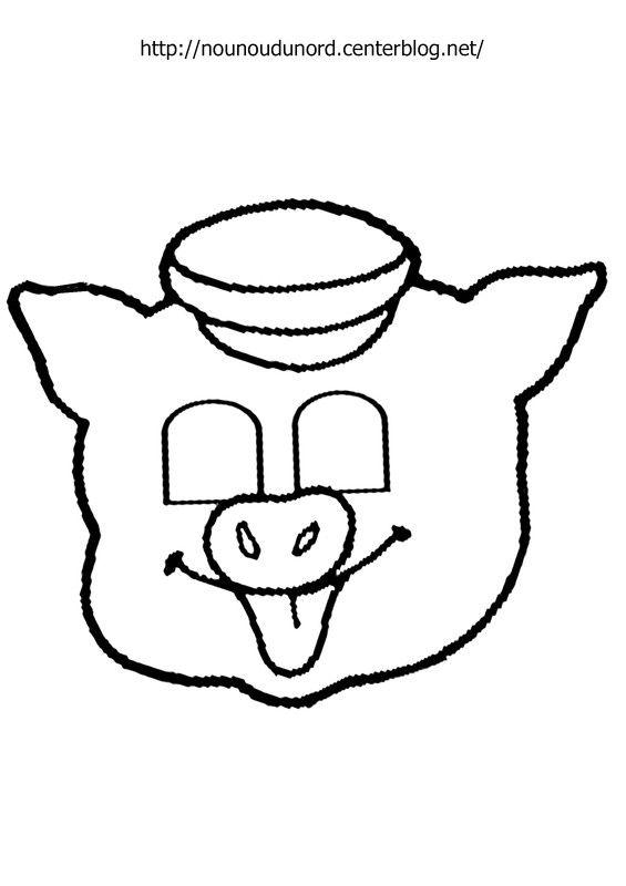 Masque cochon imprimer dessin par nounoudunord bricolage pour enfants pinterest masque - Tete de cochon a colorier ...