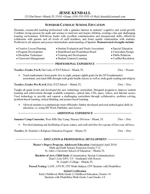 Teachers Resume Free Examples Our #1 Top Pick For Catholic   Sample Of  Resume For  Elementary Teacher Resume Objective