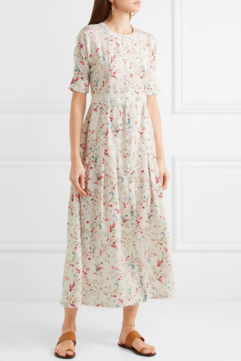 Luna Lace-trimmed Floral-print Silk Midi Dress - White Paloma Blue Outlet Store Footlocker Pictures Sale Online Buy Cheap Footlocker Pictures feGnAYOZzp