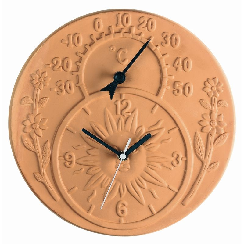 Superieur Gardman Terracotta Garden Clock And Thermometer