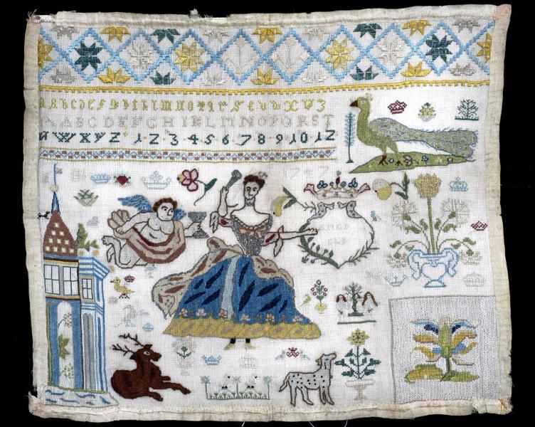 Danish(?) sampler from 1747. Kulturen, Lund, Sweden. http://carl.kulturen.com/web/object/6385
