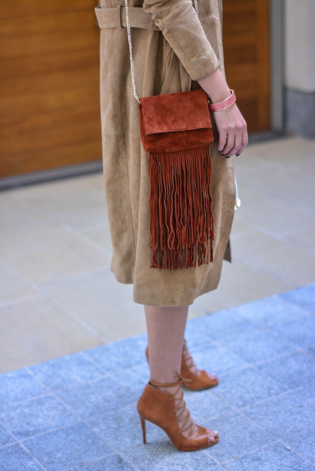 42e4c6dc00e EJSTYLE - Emma Hill wears Gestuz suede trench coat, tan lace up heels,  Karen Millen suded fringe bag, OOTD