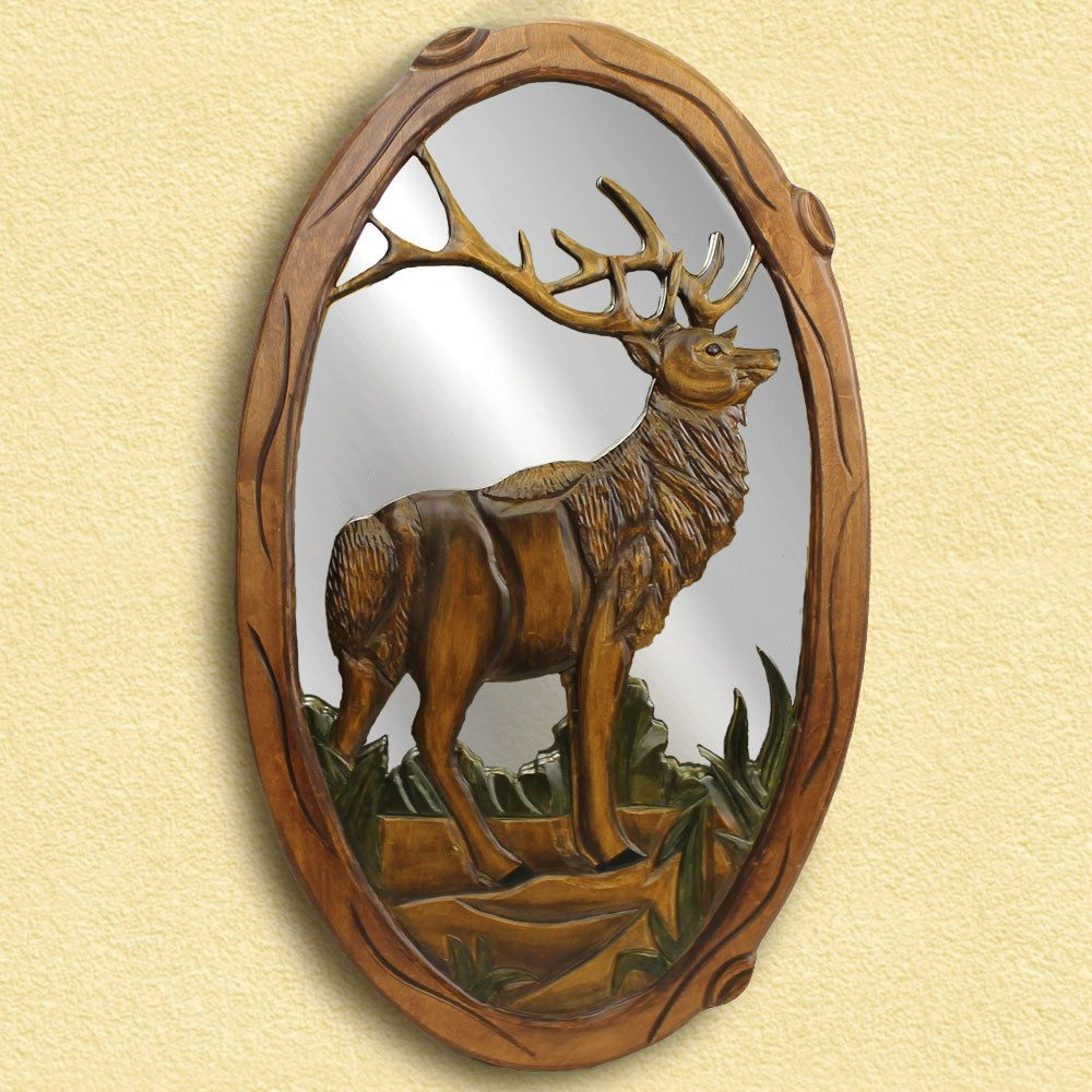 Elk - Carved Wooden Mirror - American Expedition