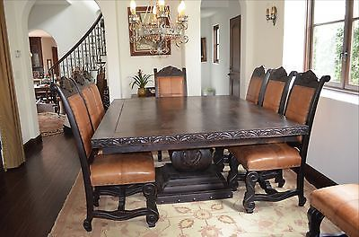 65x65 Spanish Style Mesquite Custom Dining Table 2 Leaves 12